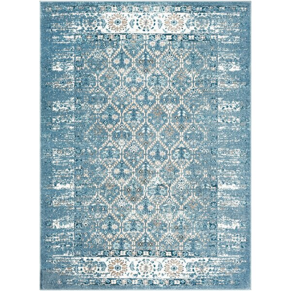 Neppie Distressed Dark Blue/Pale Blue Area Rug by Bungalow Rose