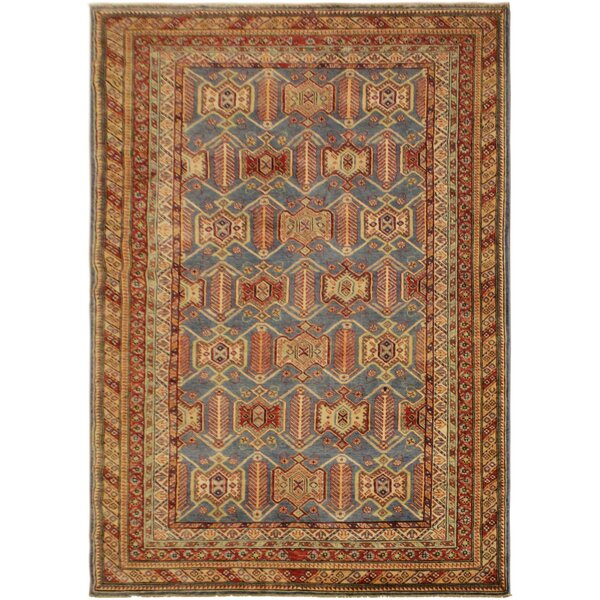 One-of-a-Kind Eve Super Kazak Hand-Knotted Wool Blue/Light Tan Area Rug by Astoria Grand