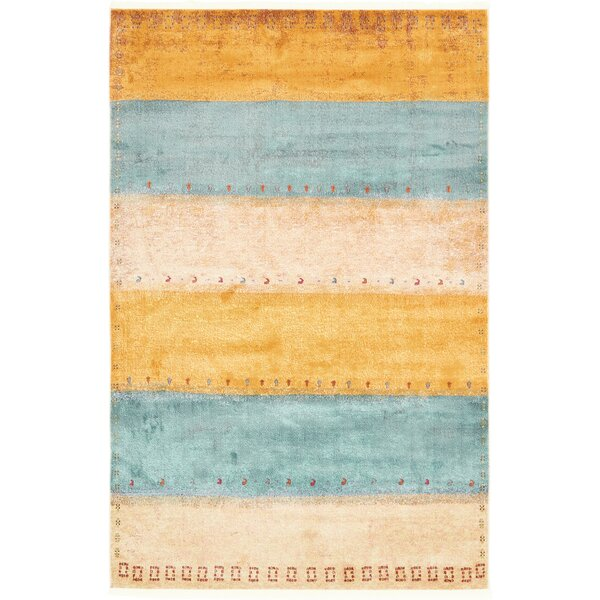 Purington Blue/Yellow/Beige Area Rug by Wrought Studio