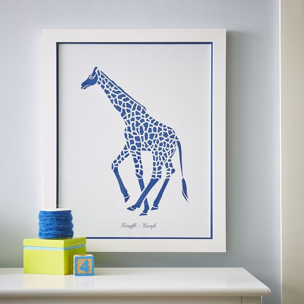 Giraffe Safari Run Framed Print by Birch Lane™