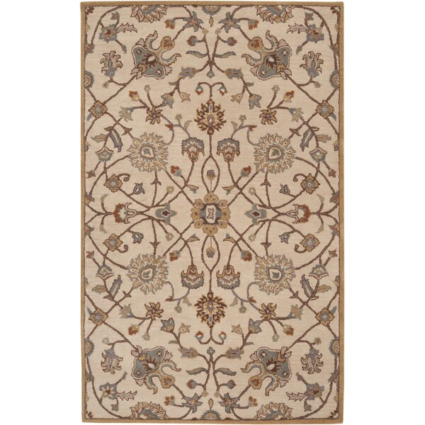 Topaz Hand-Woven Wool Beige Area Rug by World Menagerie