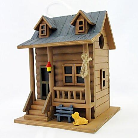 Hatchling Series Log Cabin 8.5 in x 6.5 in x 6.5 in Birdhouse by Home Bazaar
