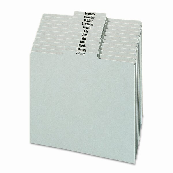 Pressboard Monthly Recycled Top Tab File Guides, 12/Set by Smead Manufacturing Company