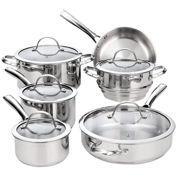 Jake 11 Piece Classic Stainless Steel Cookware Set by Mint Pantry