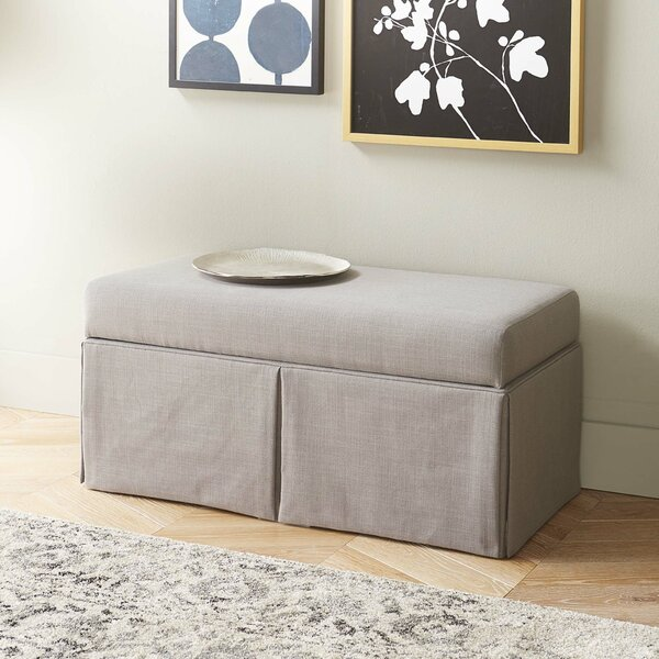 Jose Linen Wood Skirted Storage Bench