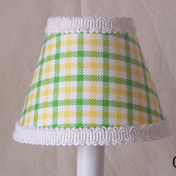 Tractor Plaid 4 H Fabric Empire Candelabra Shade ( Clip On ) in Green/Yellow