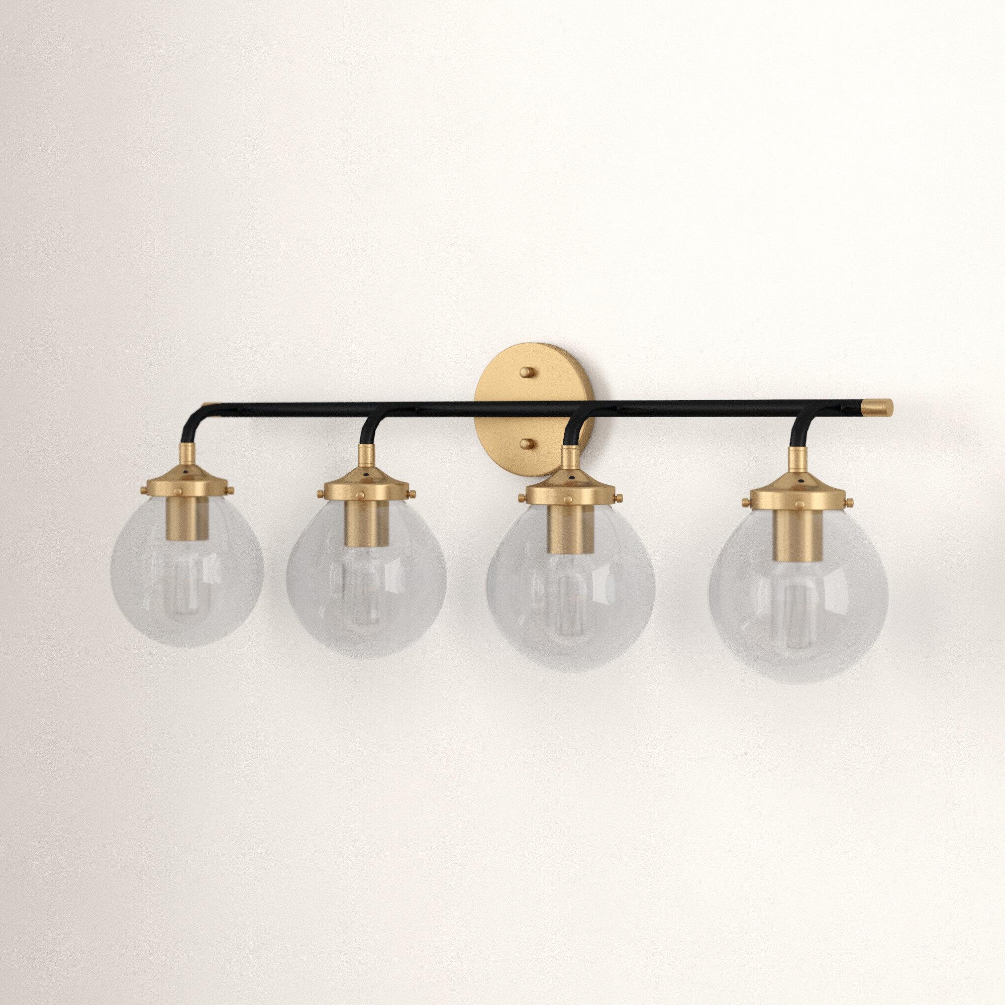 Foundstone Shontelle 4 Light Dimmable Matte Black Antique Gold Vanity Light Wayfair