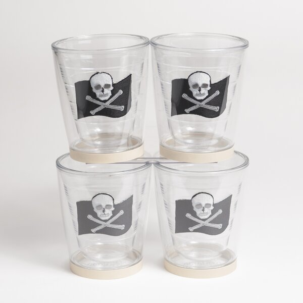 Newport Jolly Roger Non-skid 12 oz. Plastic Every Day Glass (Set of 4) by Galleyware Company