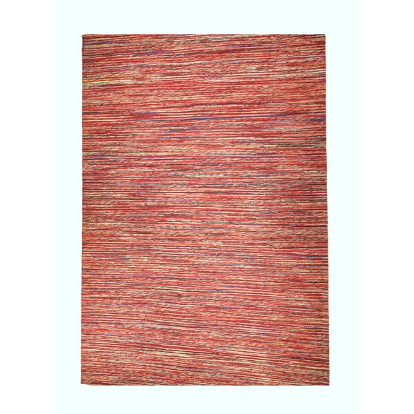 Sari Silk and Jute Hand Woven Red Area Rug by Mats Inc.