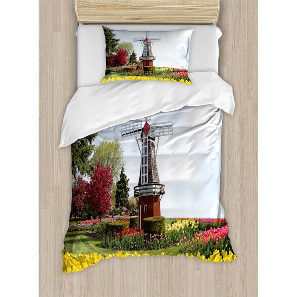 Windmill Serene Vast Traditional Garden with Blossoming Flowers Trees Dutch Tulips Duvet Set by Ambesonne