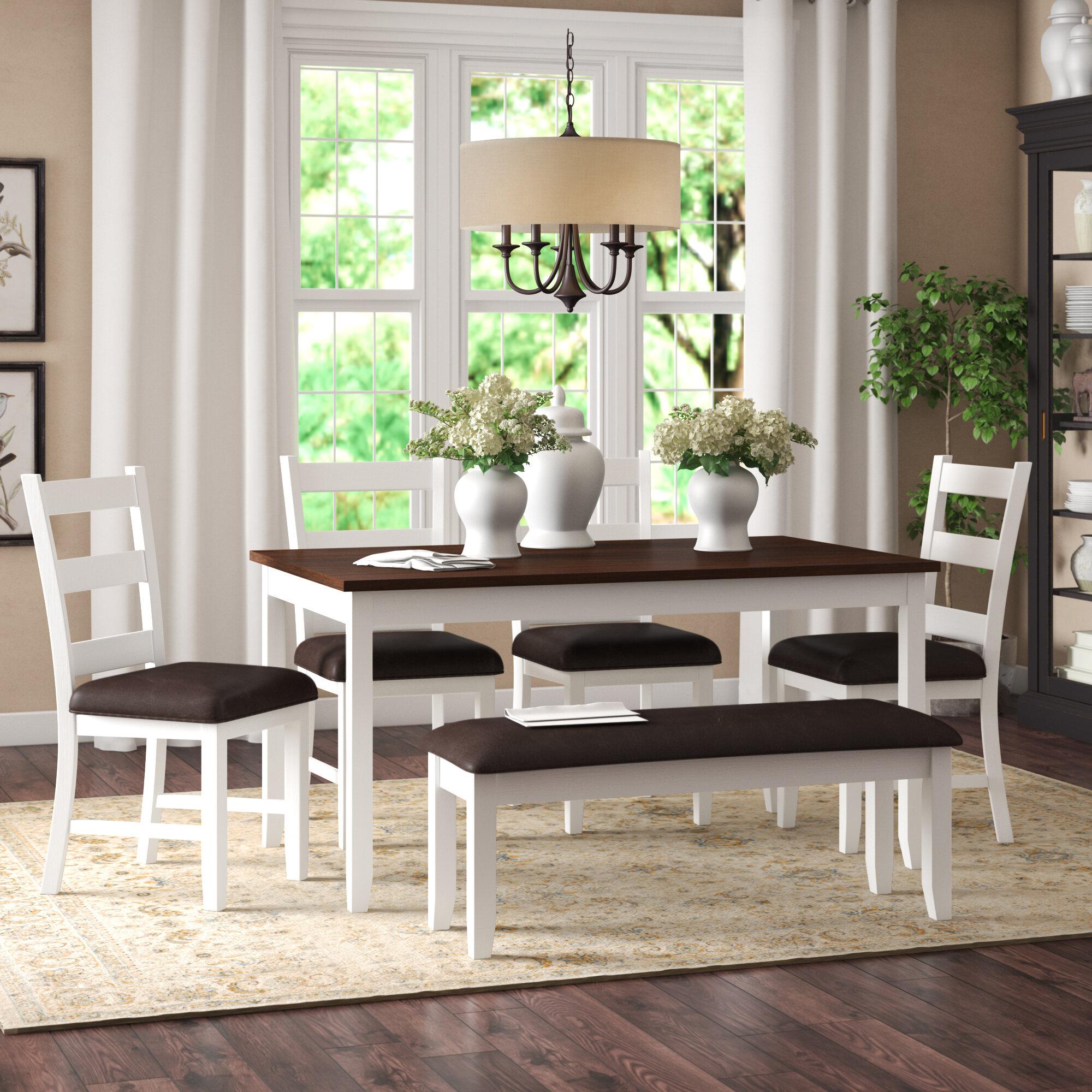 Alcott Hill® Mavis 6 Piece Solid Wood Breakfast Nook Dining Set