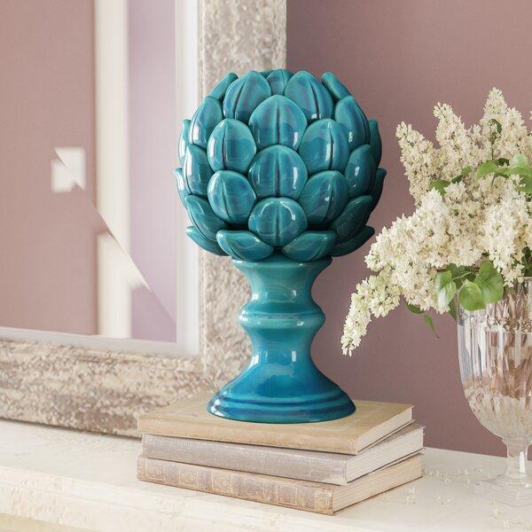 Prokop Porcelain Artichoke on a Pedestal Gloss Sculpture by Lark Manor