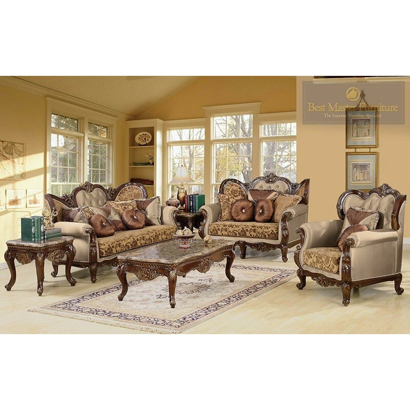 Bestmasterfurniture jenna 3 piece traditional living room for 6 piece living room set