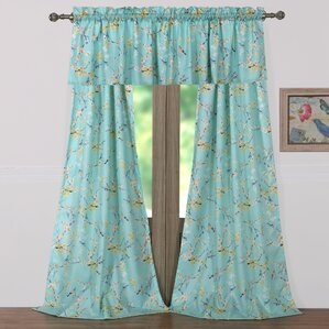 Cherry Blossom Nature/Floral Sheer Rod Pocket Single Curtain Panel