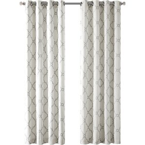 Winnett Geometric Semi Sheer Grommet Single Curtain Panel