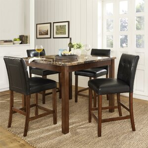 delshire faux marble 5 piece counter height dining set - Countertop Dining Room Sets