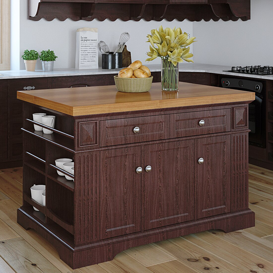 Kitchen Wood Top: 222 Fifth Furniture Greenwich Kitchen Island With Wood Top