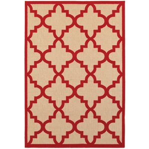 High Quality Winchcombe Sand/Red Outdoor Area Rug