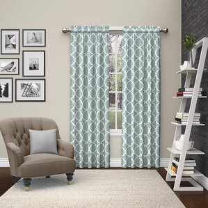 backstrom geometric semisheer rod pocket curtain panels set of 2