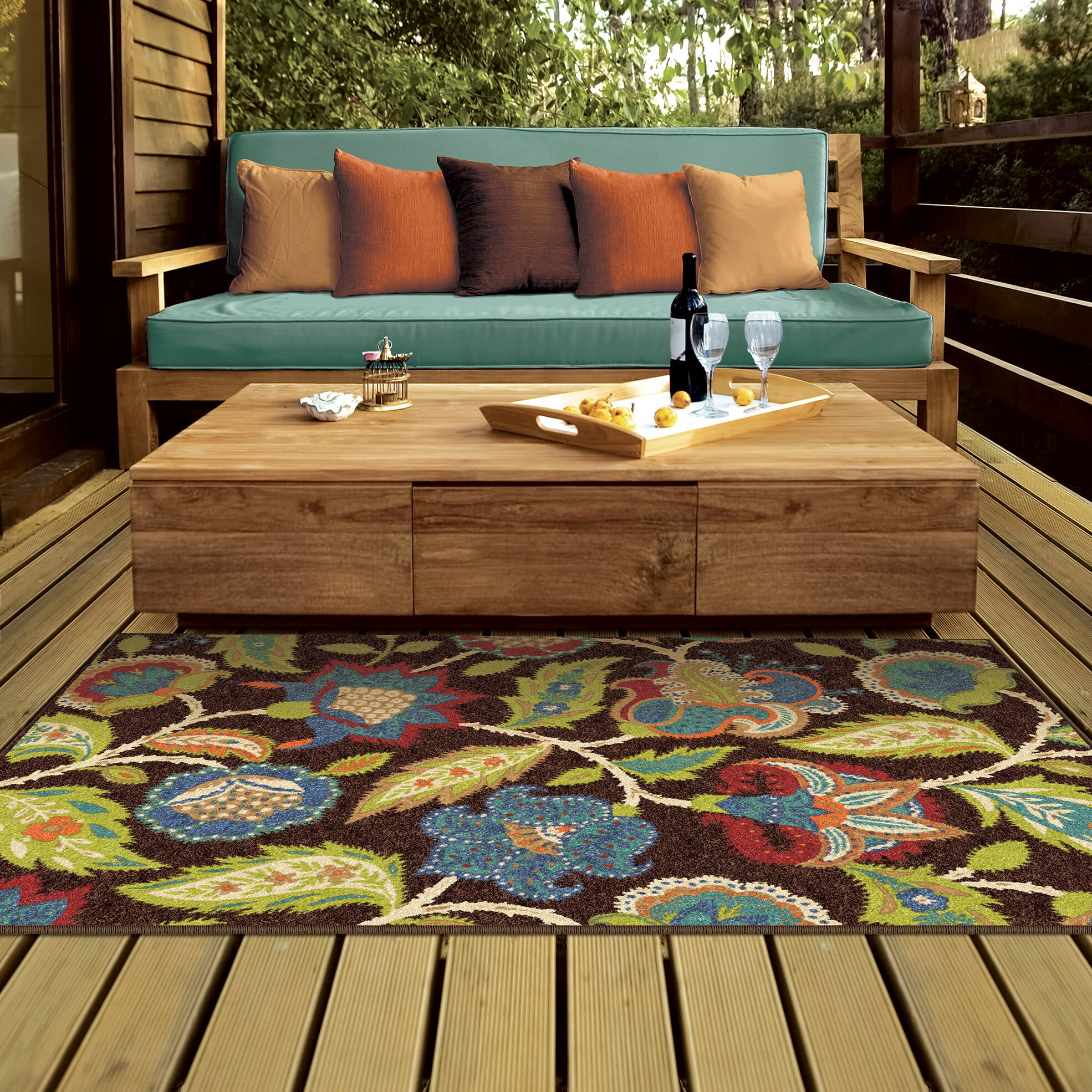 Threadbind orwell brown indoor outdoor area rug reviews for Indoor out door rugs
