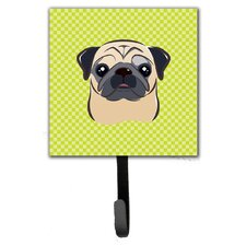Checkerboard Fawn Pug Leash Holder and Wall Hook by Caroline's Treasures