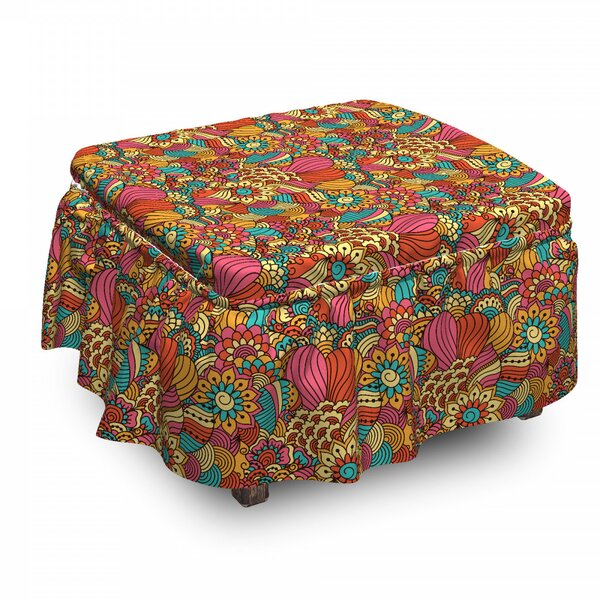 Ethnic Floral Doodle 2 Piece Box Cushion Ottoman Slipcover Set By East Urban Home