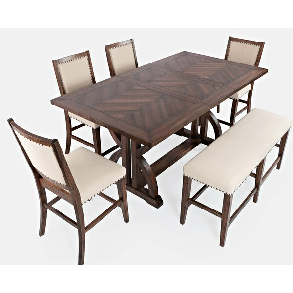 Palou 6 Piece Counter Height Solid Wood Dining Set by One Allium Way One Allium Way