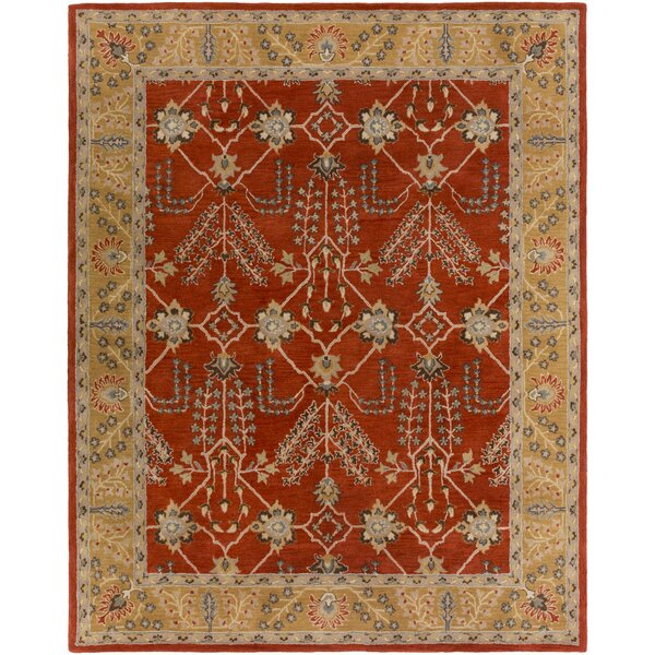 Henriksen Hand-Crafted Bright Red/Metallic Gold Area Rug by Alcott Hill