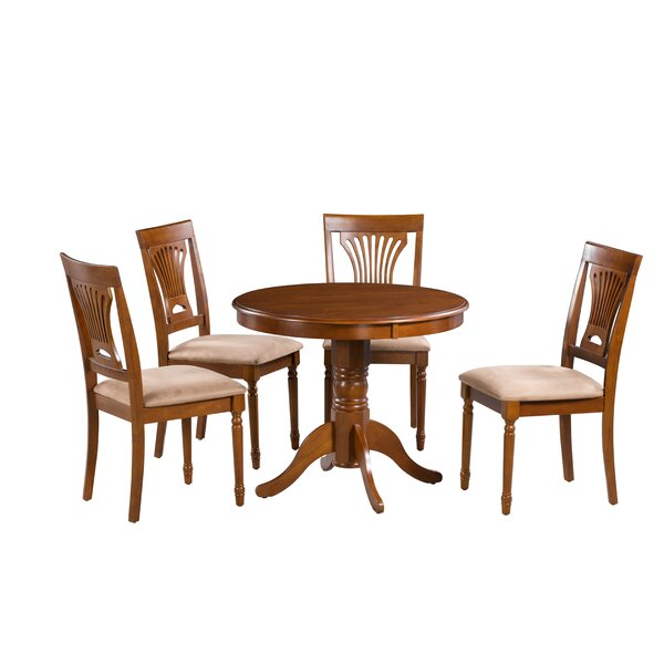 Inwood 5 Piece Solid Wood Dining Set by Darby Home Co