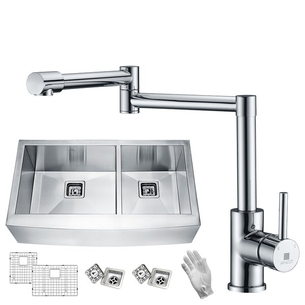 Elysian Stainless Steel 36 L x 21 W Double Basin Farmhouse Kitchen Sink with Faucet by ANZZI