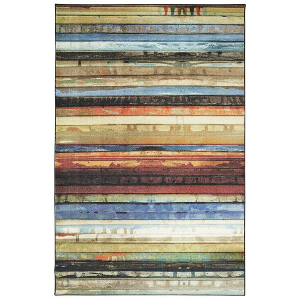 Weinmann Artist Stripe Blue/Orange Area Rug by Millwood Pines