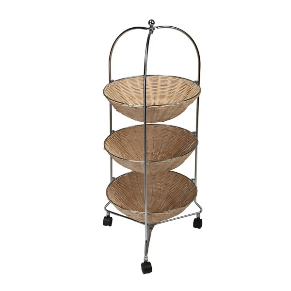 3 Tier Round Rolling Kitchen Cart by Mind Reader