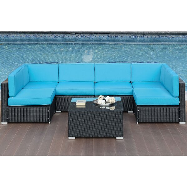 Brooklynn 7 Piece Sectional Seating Group with Cushions by Highland Dunes