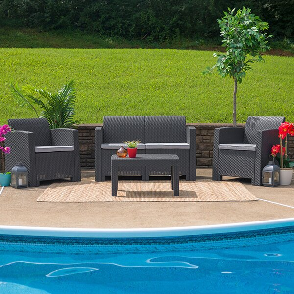 Trollinger 4 Piece Sofa Seating Group with Cushions by Latitude Run