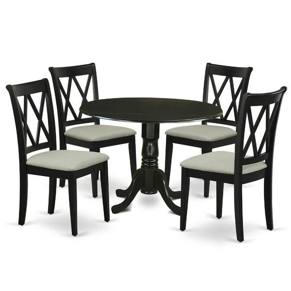 Mckernan 5 Piece Drop Leaf Solid Wood Dining Set by Canora Grey Canora Grey