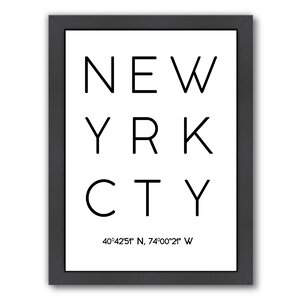 New York City Framed Textual Art by East Urban Home