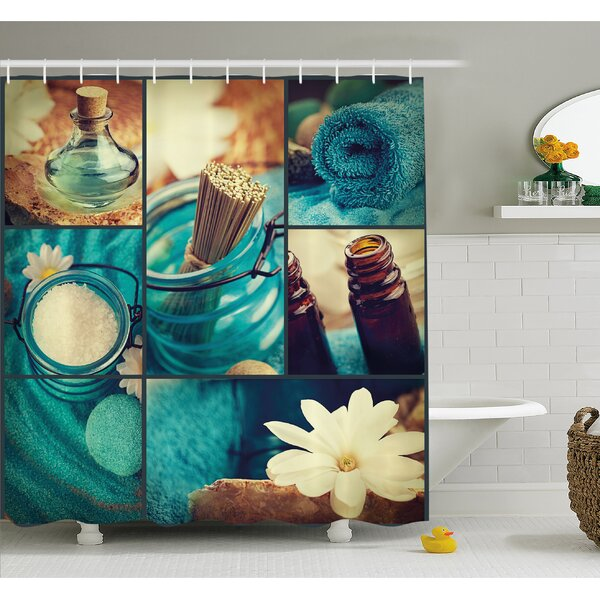 Spa Themed Daisies Scents Towels and Incense Artwork Collage Shower Curtain Set by Ambesonne