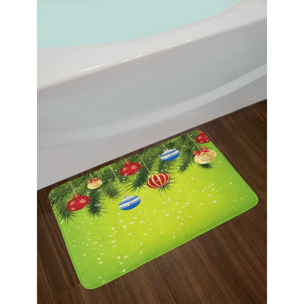 Hanging Ornaments Branches New Year Celebration Party Magical Xmas Environment Bath Rug by East Urban Home