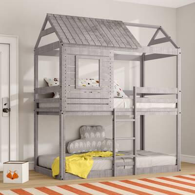 Harriet Bee Beadnell Twin Over Twin Bunk Bed Reviews Wayfair