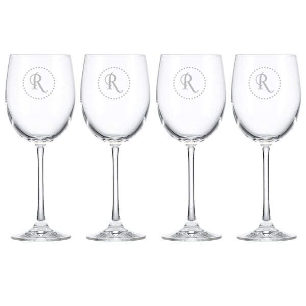 Navy Dots Tuscany Monogram Chardonnay 12 Oz. White Wine Glass (Set of 4) by Lenox