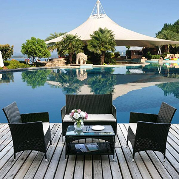 Apollinaris Outdoor 4 Piece Rattan with Cushions by Brayden Studio