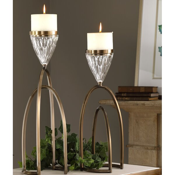 2 Piece Metal Candlestick Set by Canora Grey
