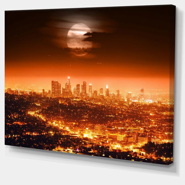 Dramatic Full Moon Over Los Angeles Cityscape Graphic Art on Wrapped Canvas by Design Art