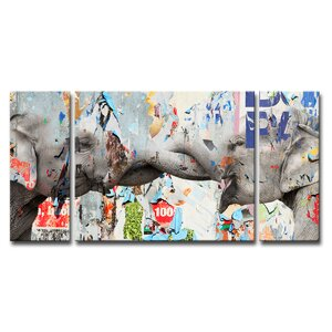 Saddle Ink Elephant VI 3 Piece Graphic Art on Wrapped Canvas Set by Ready2hangart