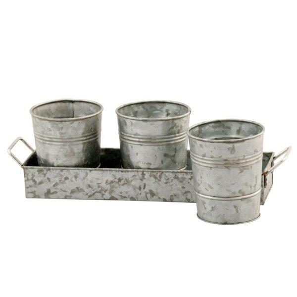 Temperance Galvanized 4-Piece Pot Planter Set by Gracie Oaks