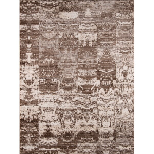 Victoria Brown/White Area Rug by World Menagerie