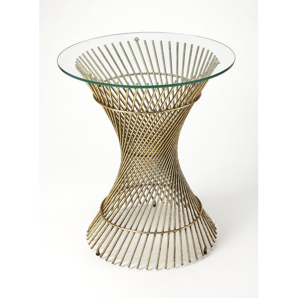 Alaniz Glass and Metal End Table by Brayden Studio