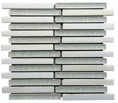 0.75 x 6 Ceramic and Stone Linear Blend Mosaic Tile in White and Gray by Intrend Tile