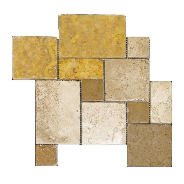 Tumbled Natural Stone Mosaic Tile in Gold/Noce by QDI Surfaces