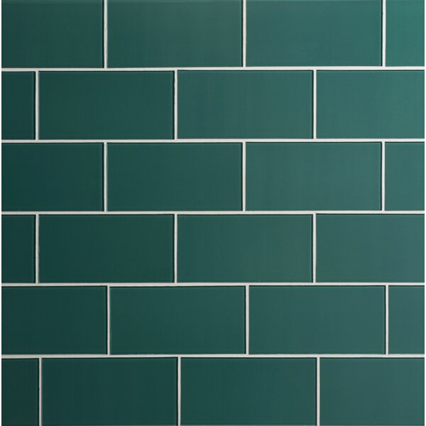 Quality Value Series 3 x 6 Glass Subway Tile in Glossy Dark Teal by WS Tiles